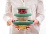 Opstapelbare Foodhugger deksels van glas en silicone, stevig en opstapelbaar bij GreenPicnic