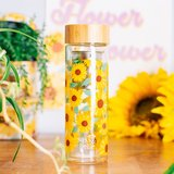 Sass and Belle Glass water bottle with infuser Sunflowers