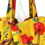 Soepele katoenen shopper met luxe print van Imbarro, okergeel