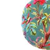 Rond poef kussen van Imbarro, turquoise met paradise print
