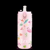 Dubbelwandige RVS drinkfles pastel roze met Flamingo versiering - IZY Kids