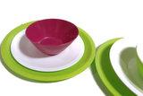 Biodora bioplastic campingservies in diverse kleuren