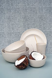 Zuperzozial Coconut White C-PLA servies van bio plastic, GreenPicnic