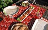 green picnic pla beker en palmblad wegwerp servies