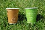 Green picnic, duurzame fsc kartonnen bekers in groen of bruin