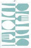 GreenPicnic biologisch katoenen Towel of placemat met blauw bestek print