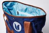 Blauwe Tulper tas donkerblauw met bruin.
