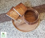 Fairtrade houten dienblad en schaal met FSC servetten
