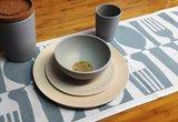 Bamboe servies in wit en blauw