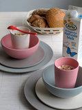 Zuperzozial bamboe servies roze, blauw en grijs