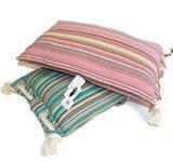 Only  Natural fairtrade kussens blauw en roze streep met touw.