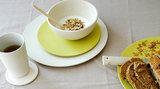 Zuperzozial bamboe servies wit en geel