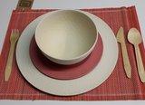 Zuperzozial hammered bamboe servies wit en rood