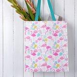 Shopper van gerecycled plastic met flamingo print