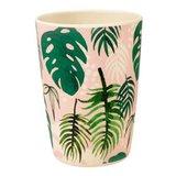 Bamboe drinkbeker met bladeren print Tropical Palm