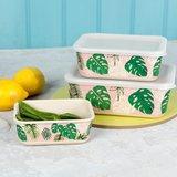 DotCom Bamboe Voorraad dozen met Tropical Palm print