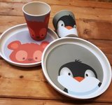 Bamboe borden en bekers YuuNaa pinguin en beer