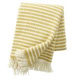 KLippan Olle Saffron, geel met wit deken van ecowol