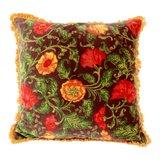 Imbarro sierkussen Iris in warmrood met oranje franjes