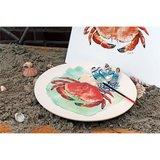 Zuperzozial large bite plate aqua, bamboe dinerbord met krab