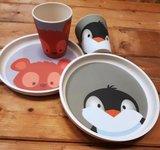 YuuNaa bamboe kinderservies pinguin en beer