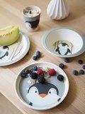 YuuNaa bamboevezel kinderservies met pinguin print