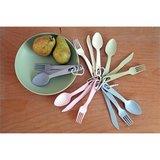 Zuperzozial take 3 bamboe bestek set in roze, blauw, wit en groen