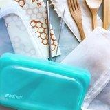 STasher Bag snack size, siliconen bewaar zakje aqua