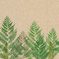 Naturals papieren servet grote varen print, 33x33cm gerecycled/ongebleekt