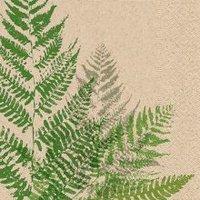 Naturals papieren servet grote varen print, 25x25cm gerecycled/ongebleekt