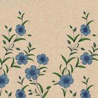Naturals papieren servet blauwe bloemen print, 25x25cm gerecycled/ongebleekt