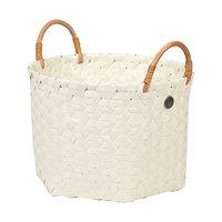 Handed By Basket Dimensional Ecru White S, mand van gevlochten gerecycled plastic