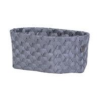 Handed By Oval Basket Dimensional Dark Grey S, mand van gerecycled plastic