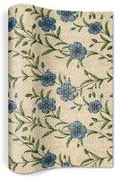 Naturals tafelloper gemaakt van vlas met blauwe bloemen print