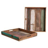 Scrapwood FairTrade vierkant dienblad van sloophout 40x40cm