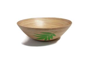 Fairtrade ronde bamboe schaal met blad