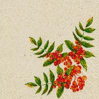 Naturals servet Rowan Berry, 33x33cm gerecycled/ongebleekt