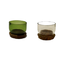 Fairtrade waxinelichthouder van gerecycled glas, Small