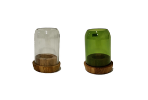 Fairtrade waxinelichthouder van gerecycled glas, Large