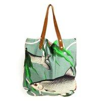 Imbarro Shopper Fishes Together Green - grote katoenen boodschappentas