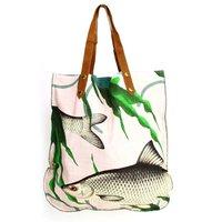 Imbarro Shopper Fishes Together Pink - grote katoenen boodschappentas