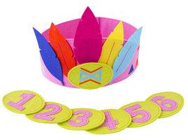 Global Affairs Felt Feather Crown - roze verjaardagskroon van vilt