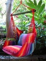 FairTrade Hangmatstoel inclusief kussenhoezen, M Regenboog