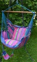 FairTrade Hangmatstoel inclusief kussenhoezen, XL Blauw-roze