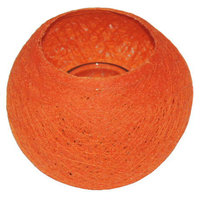 FairTrade Waxinehouder draadbal oranje
