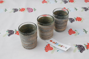 FairTrade Waxinehouder Glas met Seagrass