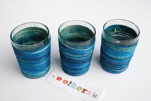 FairTrade Waxinehouder Glas met Seagrass blauw