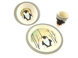 PureKids Bamboe kinder servies set Pinguin