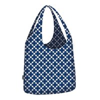 Ecozz opvouwbare shopper Little Big Bag Squares Blue
