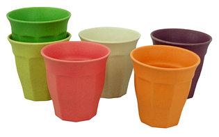 Cupful of Colour L Rainbow. Set van 6 grote gekleurde bamboe bekers